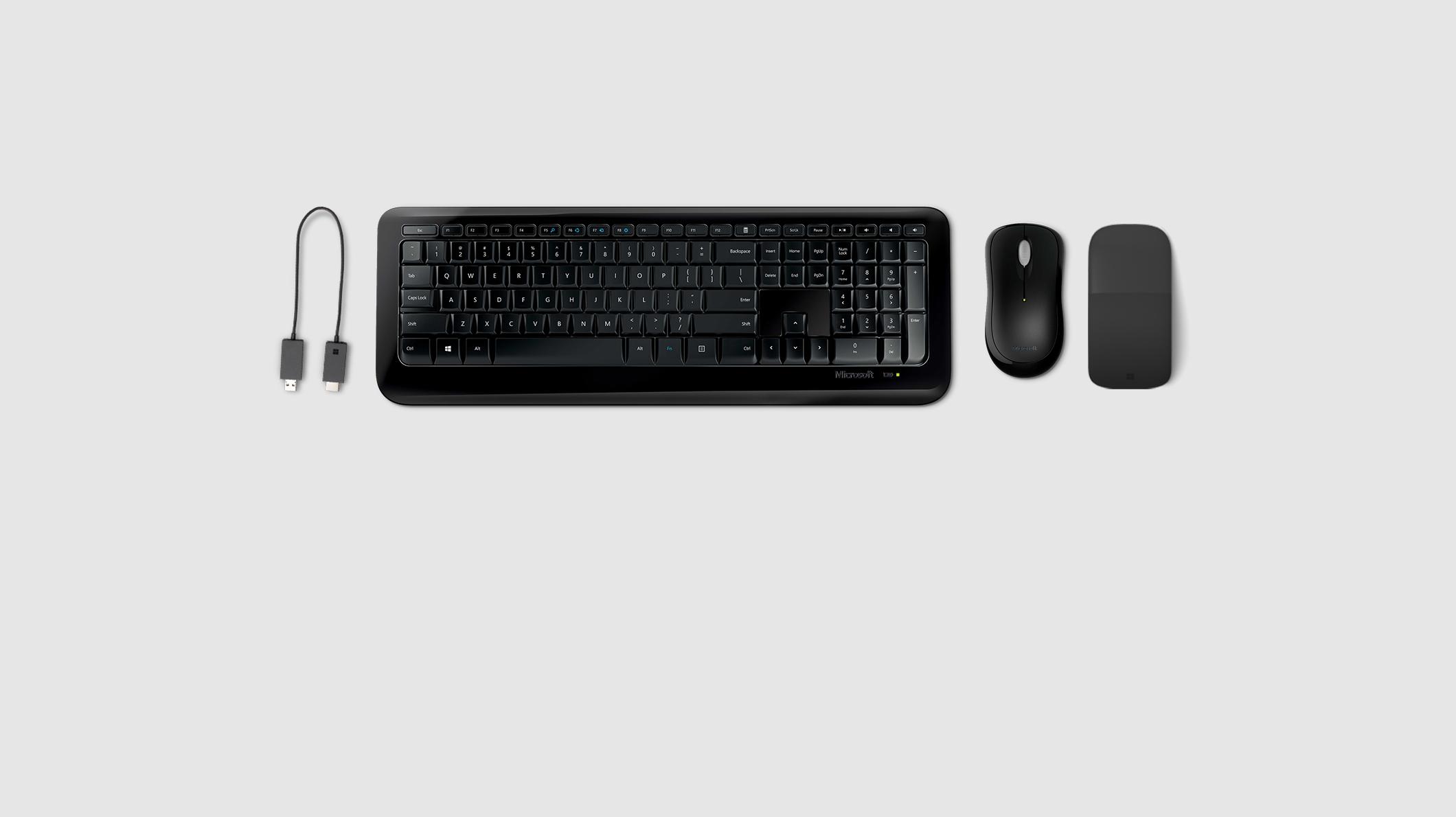 Wireless display adaptor, Surface Arc Mouse, Microsoft classic mouse, Microsoft Keyboard