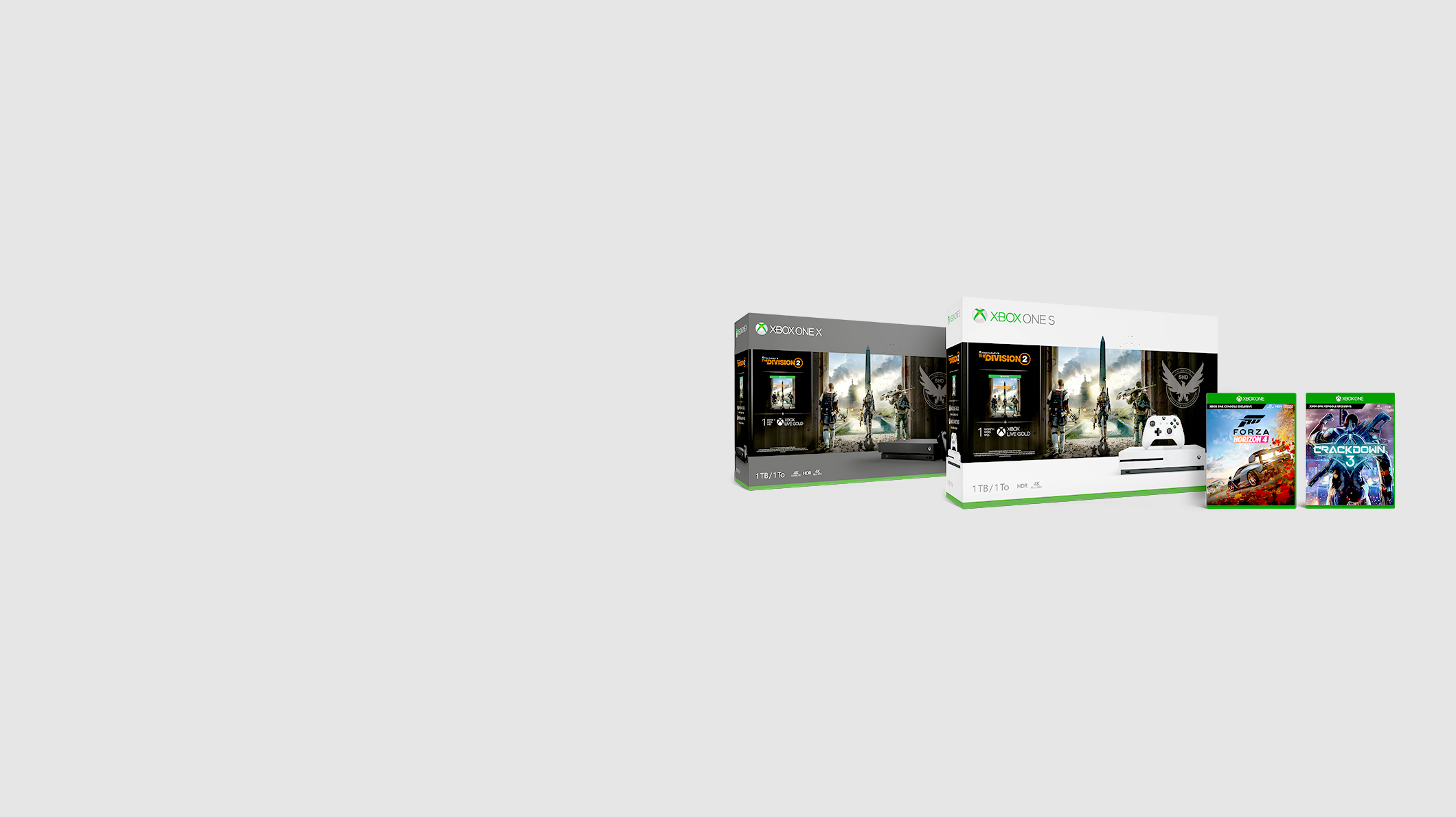 Xbox One Tom Clancy's The Division 2 Bundles, Forza Horizon 4 game, Crackdown 3 game