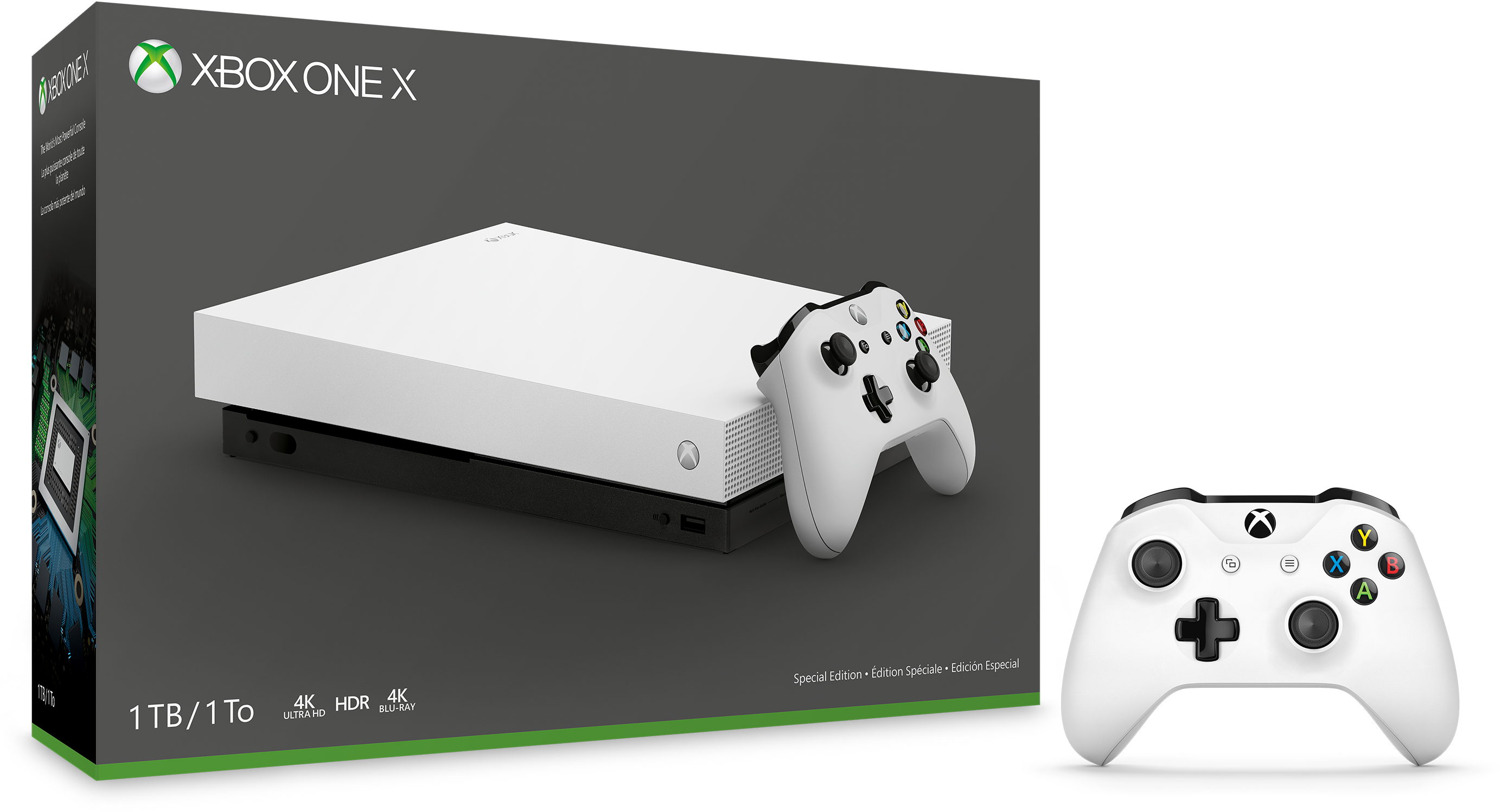Xbox One X Robot White Special Edition console and extra white Xbox One controller.