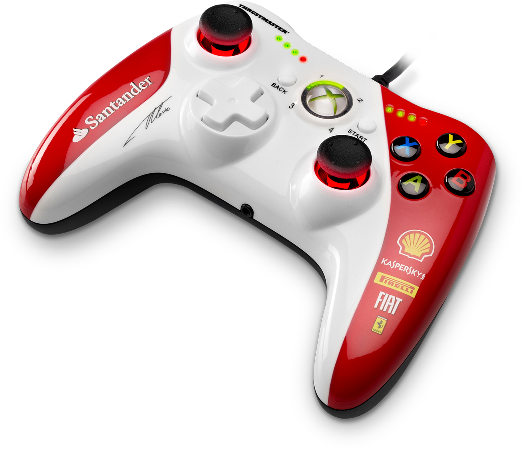 Front right view of the Thrustmaster GPX Lightback Ferrari F1 Edition for Xbox 360