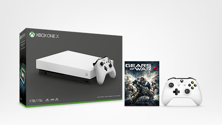 Xbox One X console, white Xbox One controller, and Gears of War 4 digital game for Xbox One.