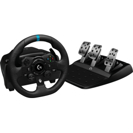 Front angled view of Logitech G923 Trueforce Sim Racing Wheel and pedals for Xbox