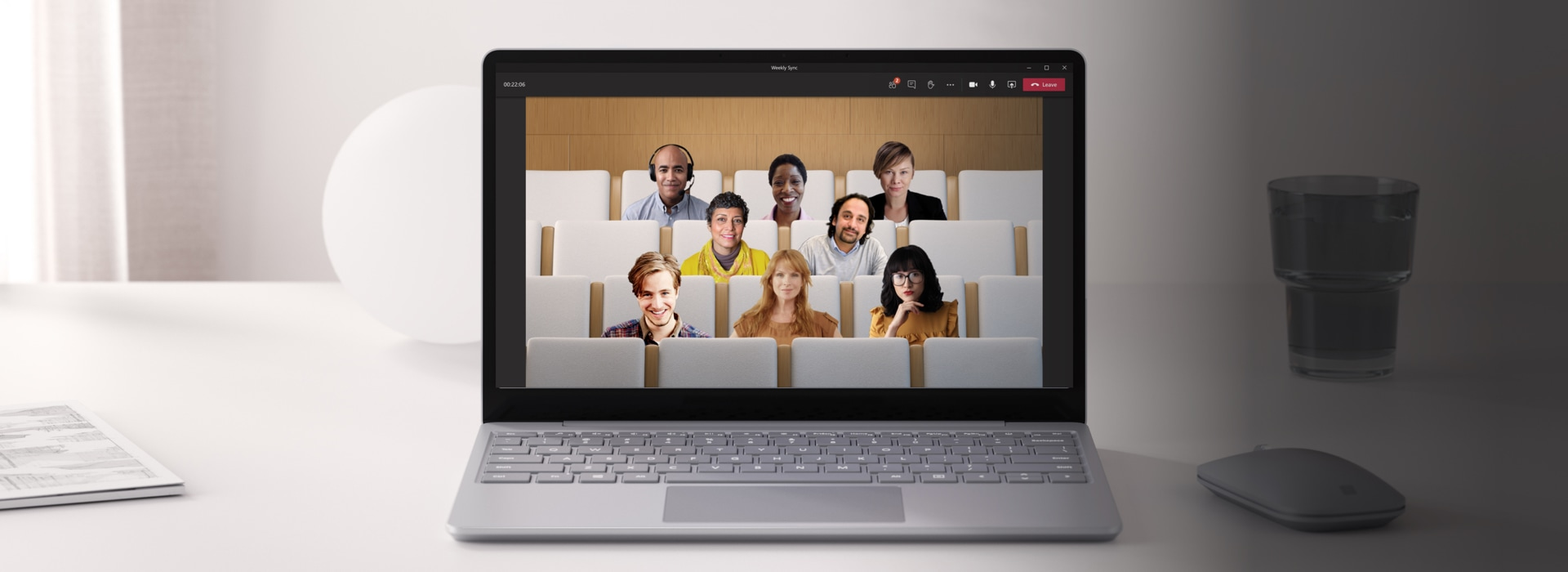 A laptop on a Teams video call in Together mode.
