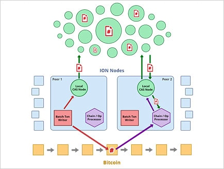 A chart showing the Identity Overlay Network of Bitcoin from the Decentralized Identity Foundation.