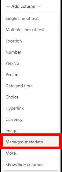 Add column menu