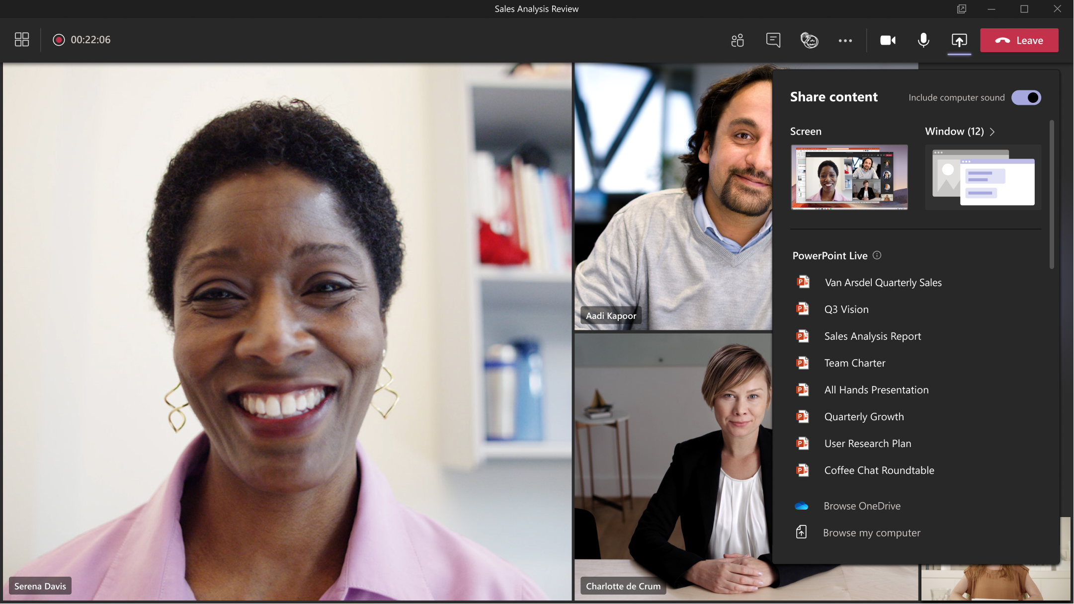 New in-meeting Share experience.