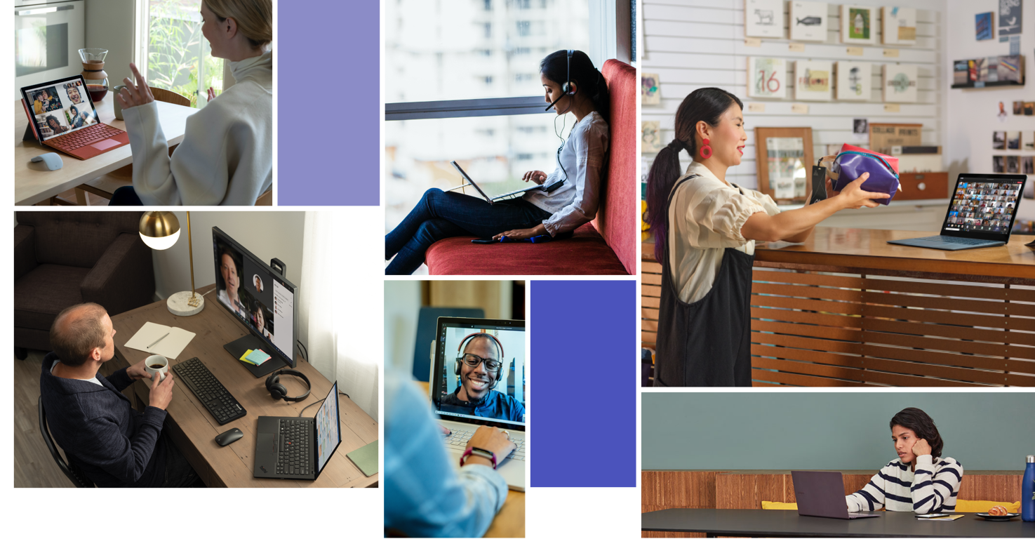 A collage of people using Teams video conferencing in varying settings.