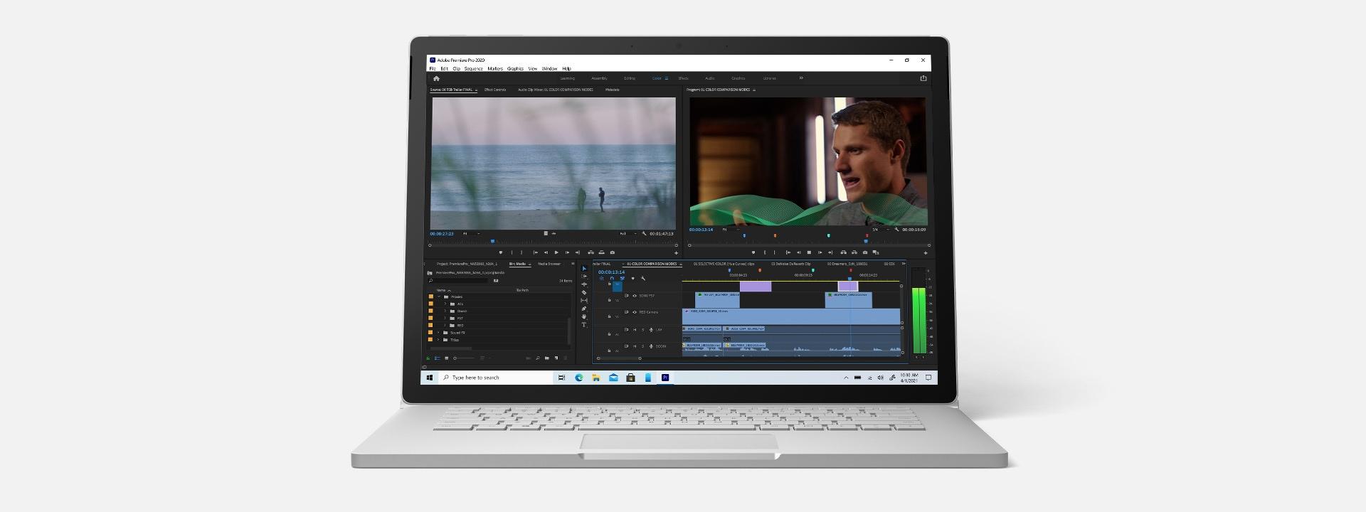 Surface Book 3 z uruchomioną aplikacją Adobe Premiere
