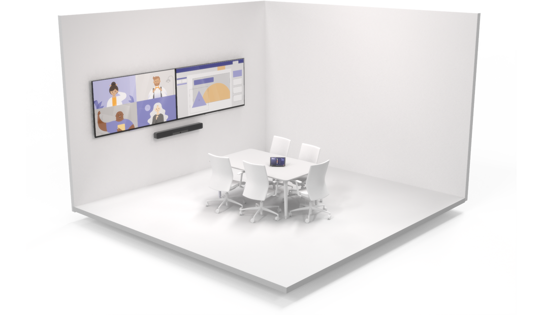 A 3D model of a small focus room with two screens and a Teams video call in progress.
