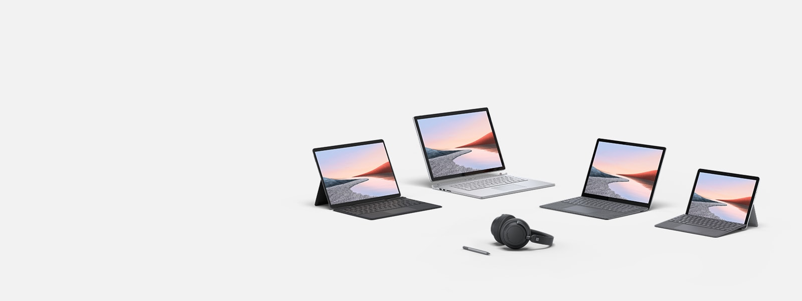 Surface Pro X with Keyboard, Surface Go 2 with Type Cover, Surface Laptop 4, Surface Book 3, Surface Headphones 2, Surface Pen