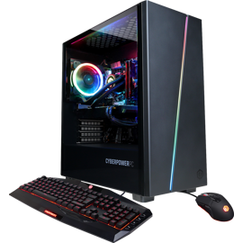 Left front view of CYBERPOWERPC Gamer SLC4000MSTV3 GPC with keyboard and mouse