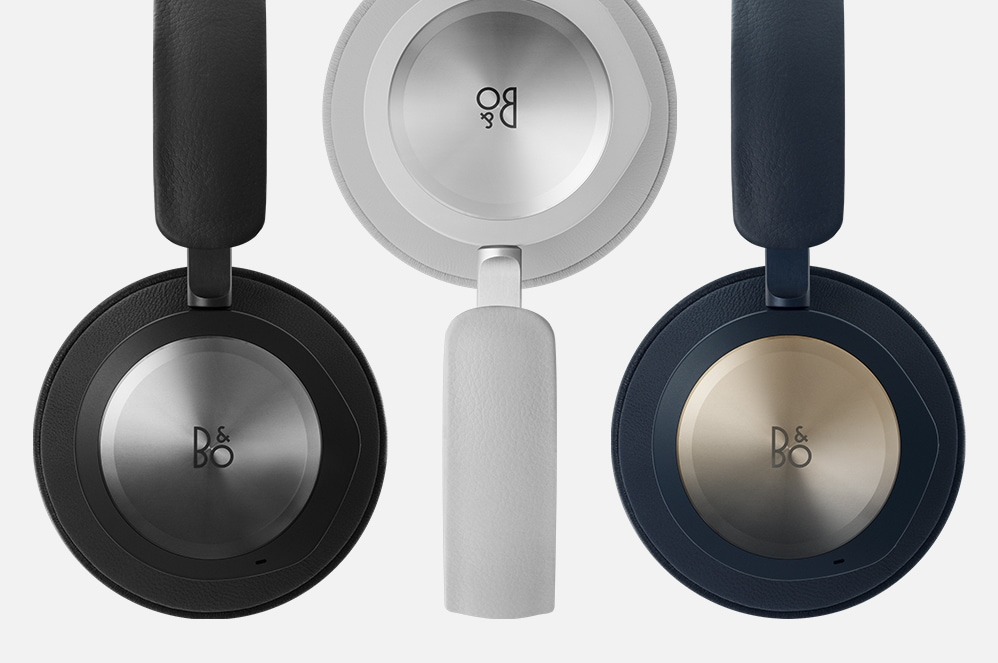 Beoplay Portal Headphones in Black, Grey Mist, and Navy.