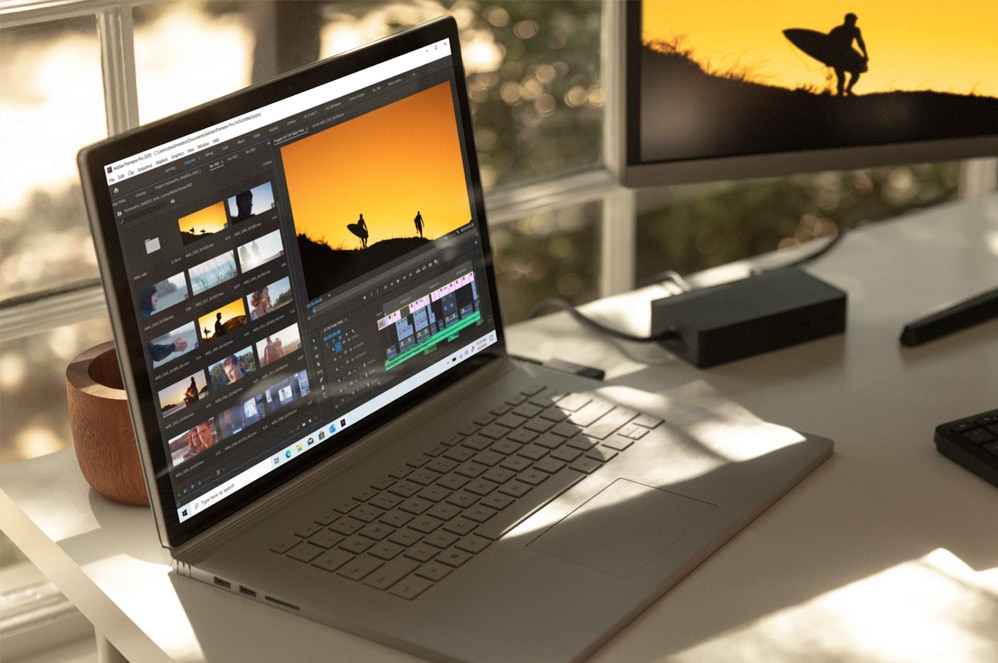 Surface Book 3 showing Adobe Premiere