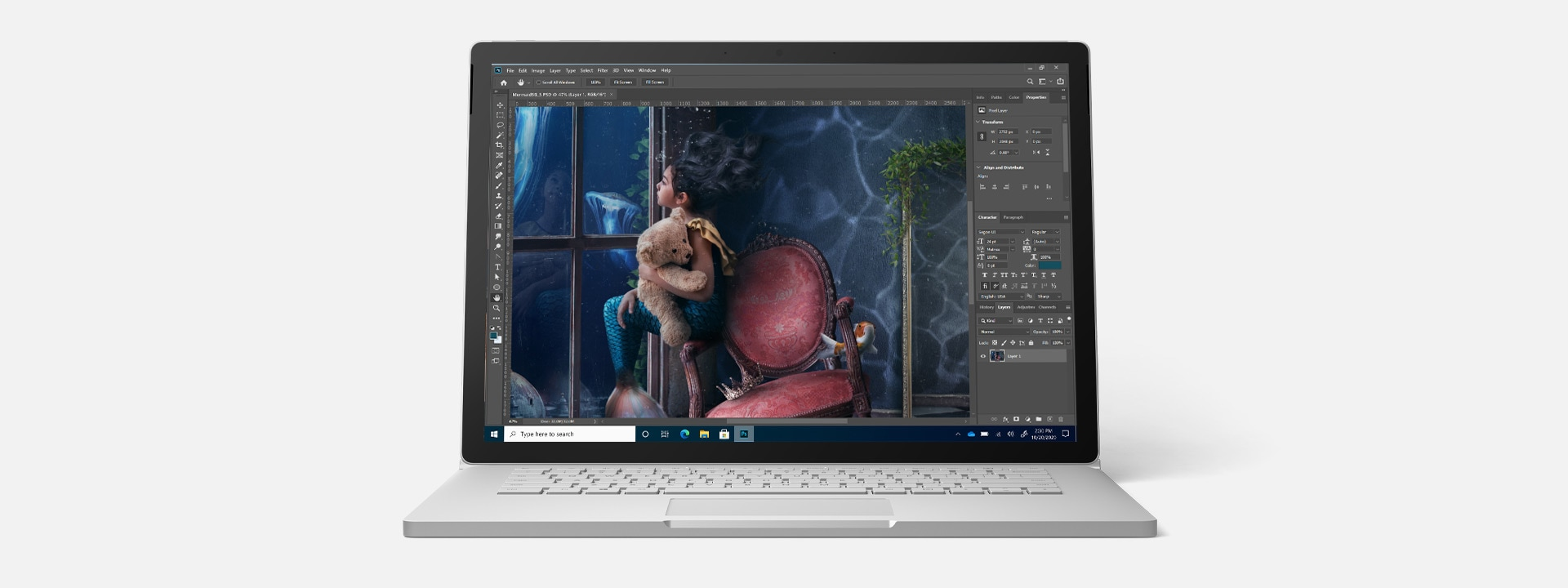 Surface Book 3 running Adobe Photoshop