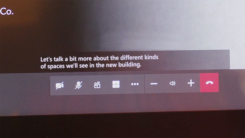 Live captions on the bottom of the screen during a call on Teams.