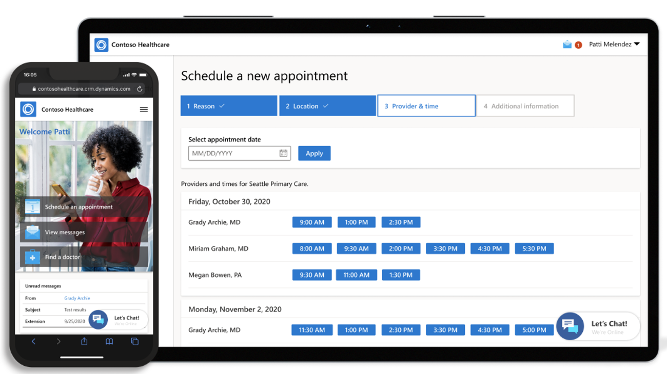 The welcome screen on the Contoso Healthcare app on a mobile phone and the screen to schedule a new appointment on a tablet.