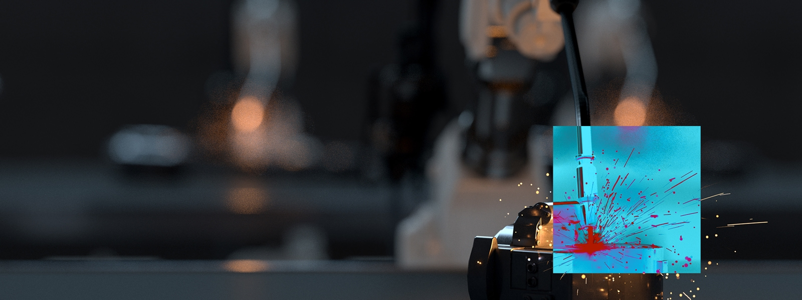 Welder in manufacturing with abstracted AI overlay