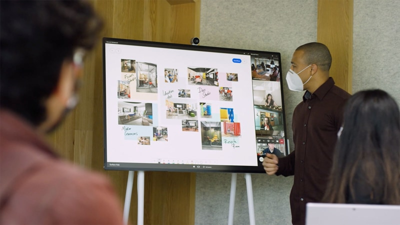 A Teams video call, with virtual and in-person participants, utilizing the Whiteboard feature with photos and handwriting.