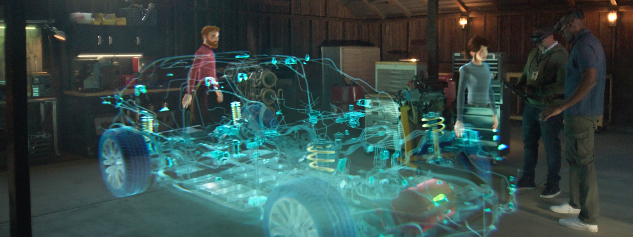 Two people wearing Hololenses interacting with a visualization of a car and two avatars representing other users.