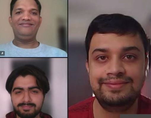 A photo shows the faces of the different team members who worked on the new SAP application:  (clockwise from upper left) Santosh Rajput, Amit Ganguli, Karan Parseja