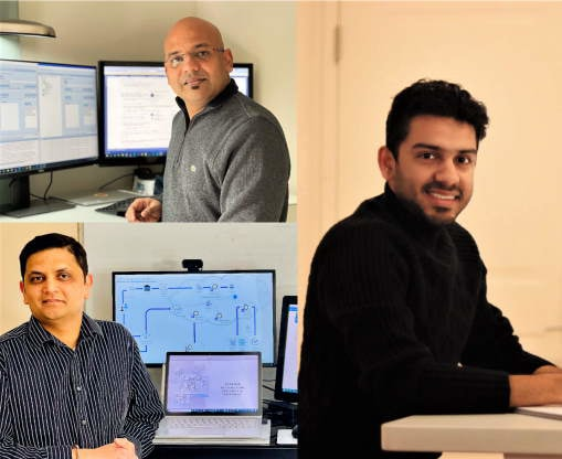 Mohit Jain, Chinmaya Rath, and Sumeet Deshpande are shown working from their home offices in a collage image arrangement.