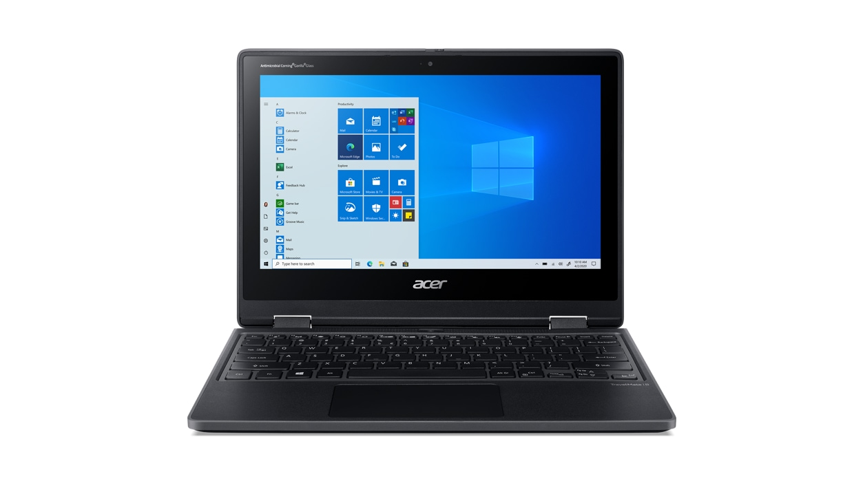 Acer TravelMate Spin laptop from the front with Windows on screen