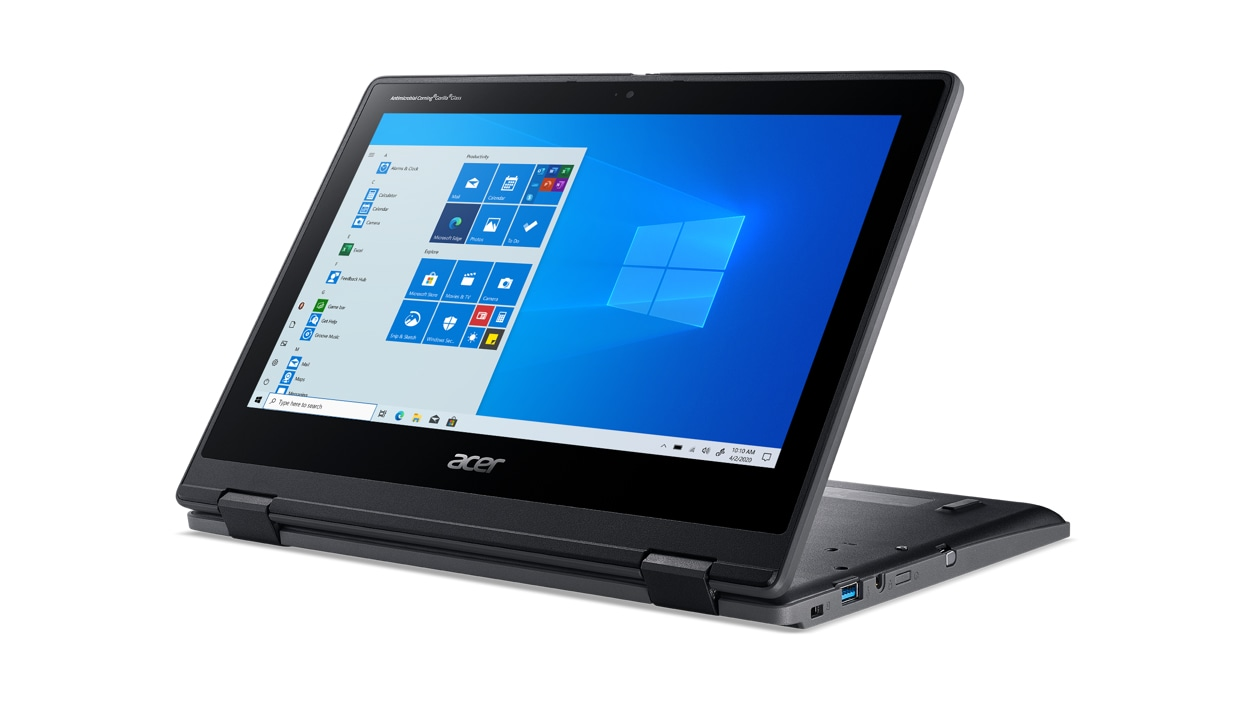 Acer TravelMate Spin laptop in tabletop mode facing the left with Windows on screen