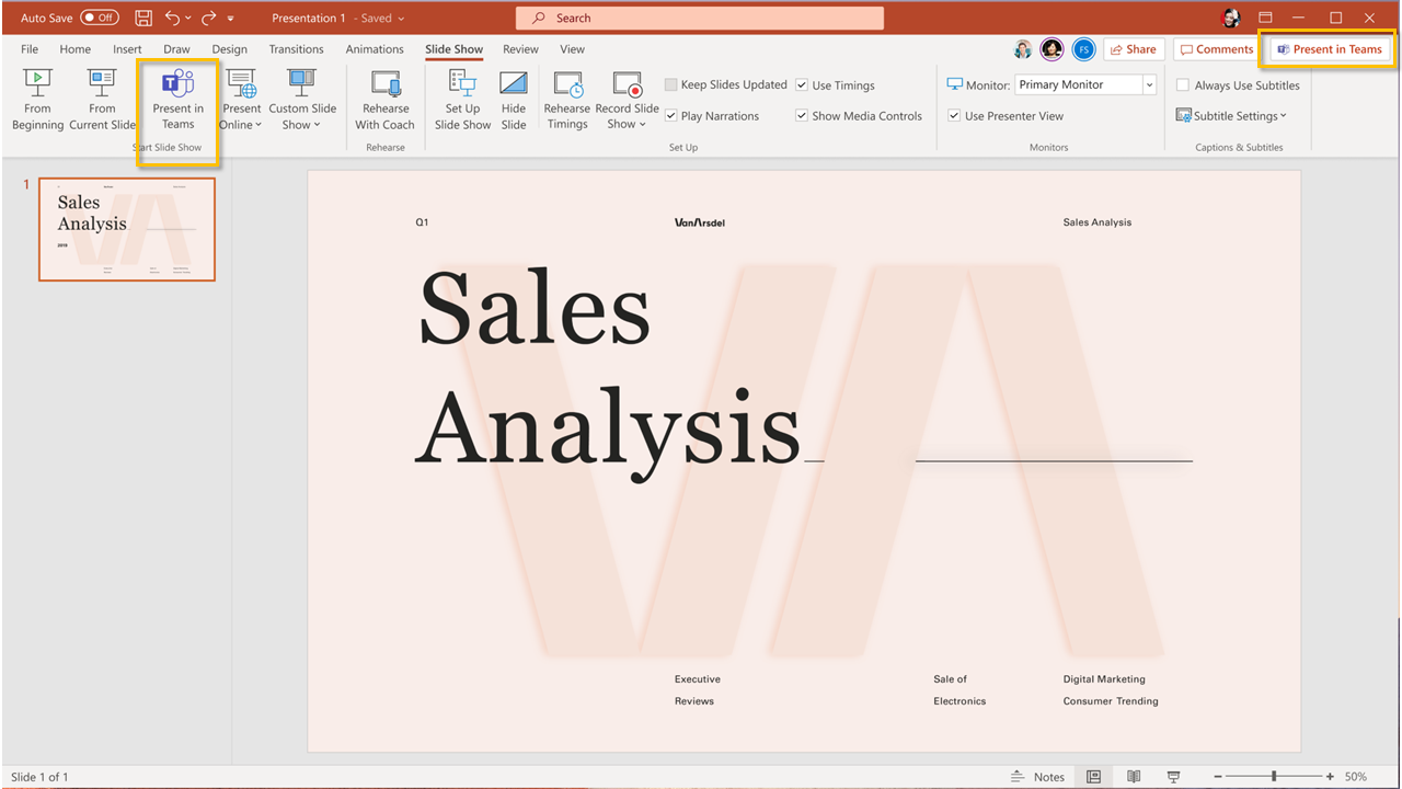 Present in Teams buttons in PowerPoint for Windows