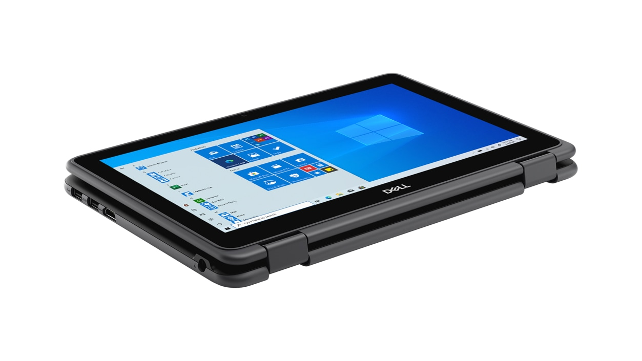 Dell Latitude 3190 2-in-1 laptop in tablet mode with Windows on screen