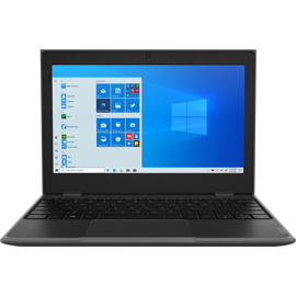 Lenovo 100e front view with Windows 10 on screen.