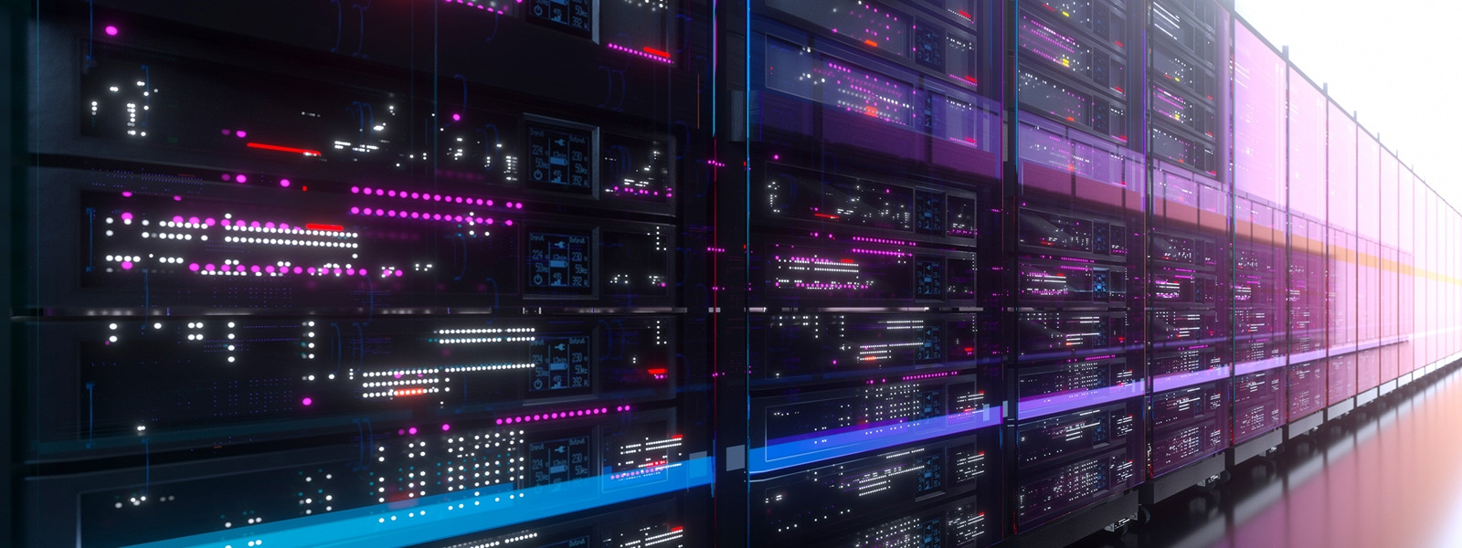Bank of computers extending into horizon
