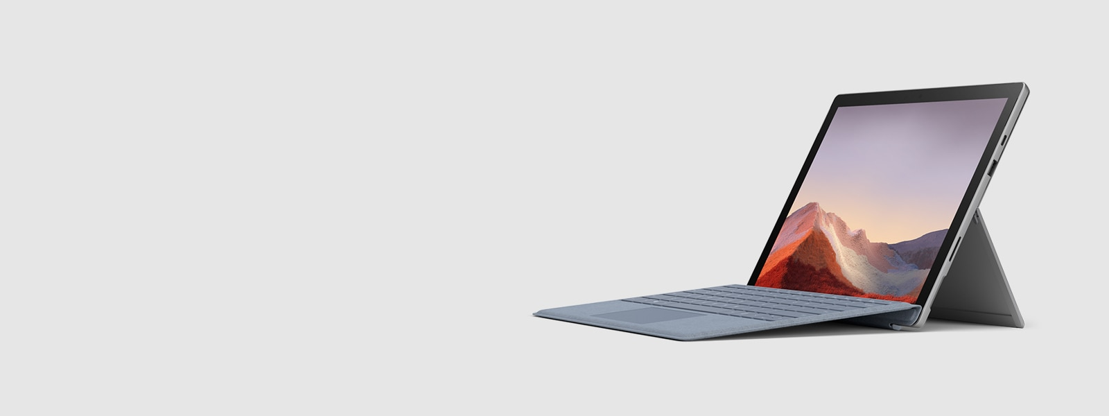 A Surface Pro 7 with a type cover.