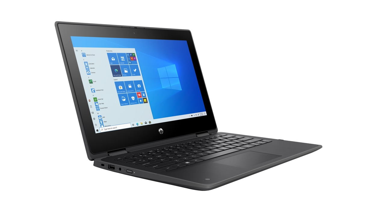 HP ProBook x360 laptop facing the right with Windows on screen