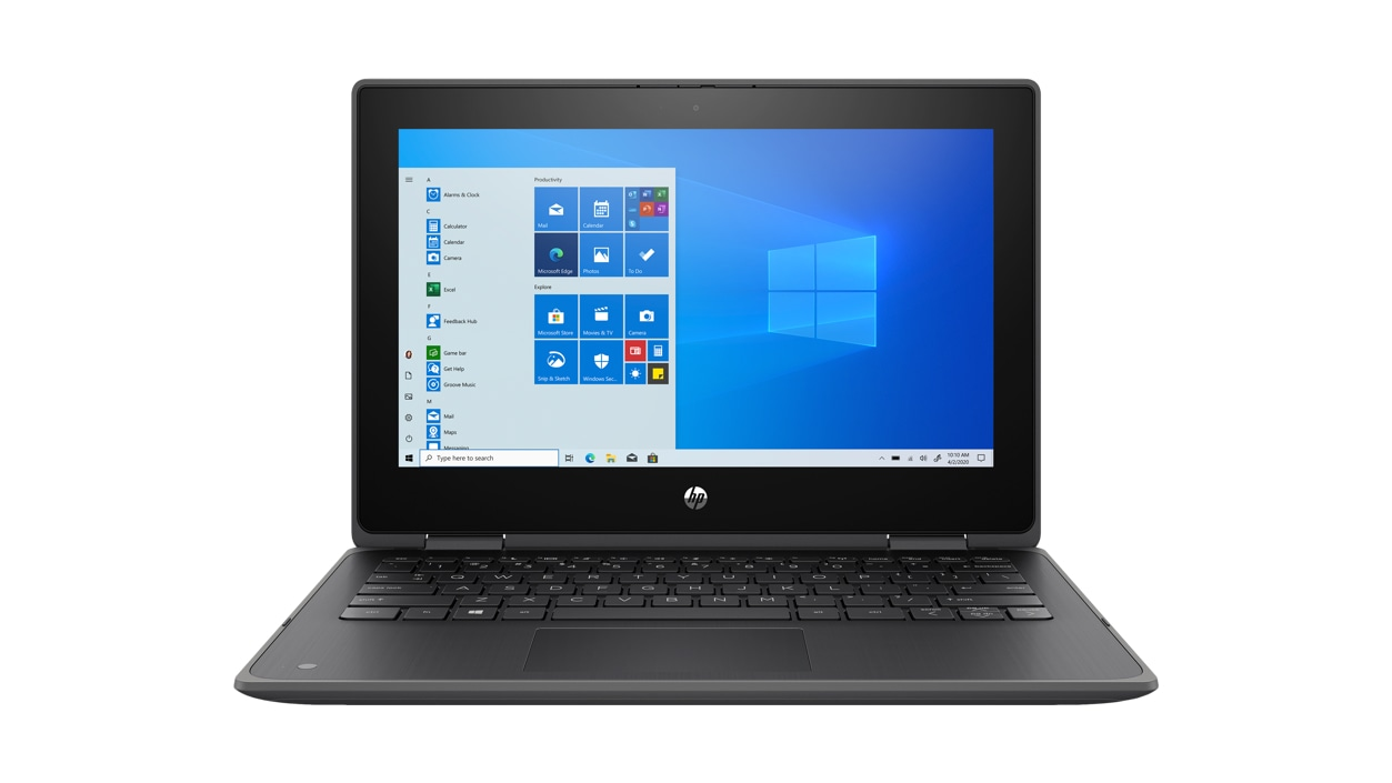 HP ProBook x360 laptop from the front with Windows on screen