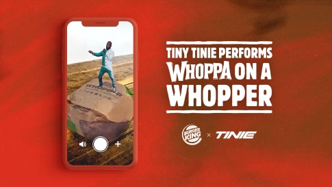 Burger King UK teamed up with UK rap artist, Tinie, to offer a virtual AR performance of Whoppaon a Whopper, captured by Dimension Studio.